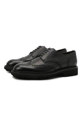 Мужские кожаные дерби CANALI черного цвета, арт. 221207/RF00566 | Фото 1 (Материал внутренний: Натуральная кожа; Стили: Классический; Мужское Кросс-КТ: Броги-обувь)