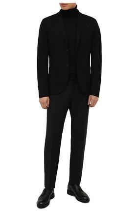 Мужские кожаные дерби CANALI черного цвета, арт. 221207/RF00566 | Фото 2 (Материал внутренний: Натуральная кожа; Стили: Классический; Мужское Кросс-КТ: Броги-обувь)