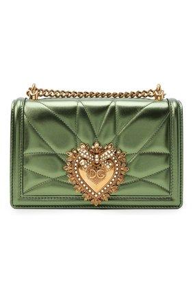 Женская сумка devotion small DOLCE & GABBANA зеленого цвета, арт. BB6652/AK772   Фото 1 (Материал: Натуральная кожа; Сумки-технические: Сумки через плечо; Ремень/цепочка: С цепочкой, На ремешке; Размер: small; Женское Кросс-КТ: Вечерняя сумка)