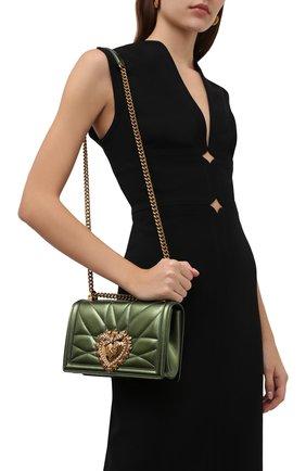 Женская сумка devotion small DOLCE & GABBANA зеленого цвета, арт. BB6652/AK772   Фото 2 (Материал: Натуральная кожа; Сумки-технические: Сумки через плечо; Ремень/цепочка: С цепочкой, На ремешке; Размер: small; Женское Кросс-КТ: Вечерняя сумка)