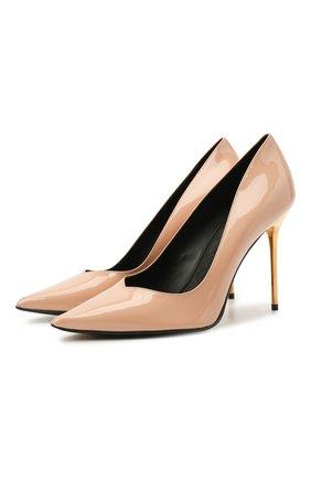 Женские кожаные туфли BALMAIN бежевого цвета, арт. UN1C517/LVRE | Фото 1 (Каблук высота: Высокий; Материал внутренний: Натуральная кожа; Подошва: Плоская; Каблук тип: Шпилька)