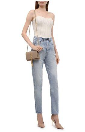Женские кожаные туфли BALMAIN бежевого цвета, арт. UN1C517/LVRE | Фото 2 (Каблук высота: Высокий; Материал внутренний: Натуральная кожа; Подошва: Плоская; Каблук тип: Шпилька)