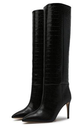 Женские кожаные сапоги stiletto PARIS TEXAS черного цвета, арт. PX548-XC0C0 | Фото 1 (Каблук высота: Высокий; Материал внутренний: Натуральная кожа; Подошва: Плоская; Высота голенища: Средние; Каблук тип: Шпилька)