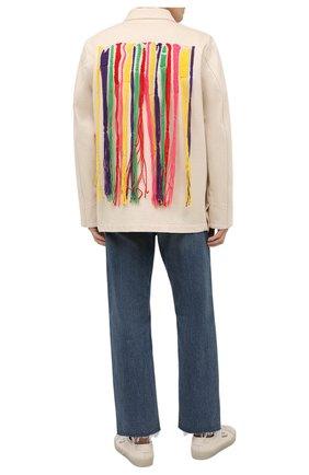 Мужская джинсовая куртка palm angels x missoni PALM ANGELS кремвого цвета, арт. PMYE005F21DEN0020384 | Фото 2 (Материал внешний: Хлопок; Кросс-КТ: Куртка, Деним; Длина (верхняя одежда): Короткие; Рукава: Длинные; Стили: Бохо)