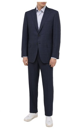Мужской шерстяной костюм CANALI синего цвета, арт. E11220/10/BX01813 | Фото 1 (Материал внешний: Шерсть; Материал подклада: Купро; Стили: Классический; Костюмы М: Однобортный; Рукава: Длинные)