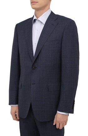 Мужской шерстяной костюм CANALI синего цвета, арт. E11220/10/BX01813 | Фото 2 (Материал внешний: Шерсть; Материал подклада: Купро; Стили: Классический; Костюмы М: Однобортный; Рукава: Длинные)