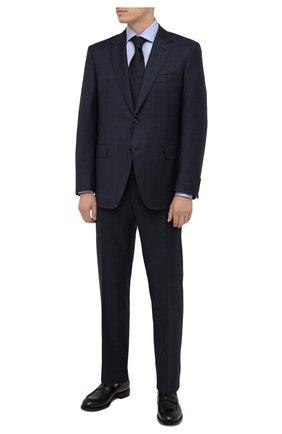 Мужской шерстяной костюм CANALI темно-синего цвета, арт. E11280/10/BX02796 | Фото 1 (Рукава: Длинные; Материал подклада: Купро; Материал внешний: Шерсть; Стили: Классический; Костюмы М: Однобортный)
