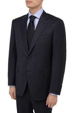 Мужской шерстяной костюм CANALI темно-синего цвета, арт. E11280/10/BX02796 | Фото 2 (Рукава: Длинные; Материал подклада: Купро; Материал внешний: Шерсть; Стили: Классический; Костюмы М: Однобортный)