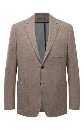 Мужской пиджак из шерсти и хлопка CANALI бежевого цвета, арт. J0147/JJ02165 | Фото 1 (Длина (для топов): Стандартные; Материал внешний: Шерсть, Хлопок; Рукава: Длинные; Случай: Повседневный; Пиджаки М: Приталенный; 1-2-бортные: Однобортные; Стили: Кэжуэл)