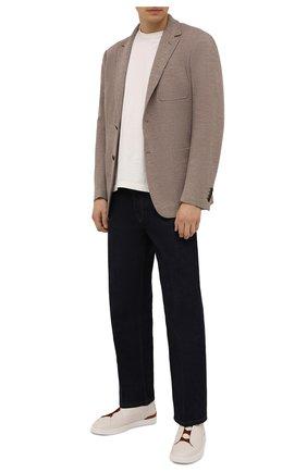 Мужской пиджак из шерсти и хлопка CANALI бежевого цвета, арт. J0147/JJ02165 | Фото 2 (Длина (для топов): Стандартные; Материал внешний: Шерсть, Хлопок; Рукава: Длинные; Случай: Повседневный; Пиджаки М: Приталенный; 1-2-бортные: Однобортные; Стили: Кэжуэл)