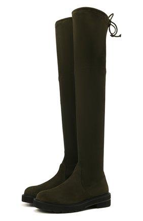 Женские замшевые ботфорты lowland lift STUART WEITZMAN темно-зеленого цвета, арт. S5610 | Фото 1
