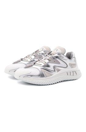 Мужские комбинированные кроссовки wade runner VALENTINO белого цвета, арт. WY2S0D95/NZF | Фото 1 (Материал внешний: Текстиль; Подошва: Массивная; Материал внутренний: Текстиль; Стили: Гранж)