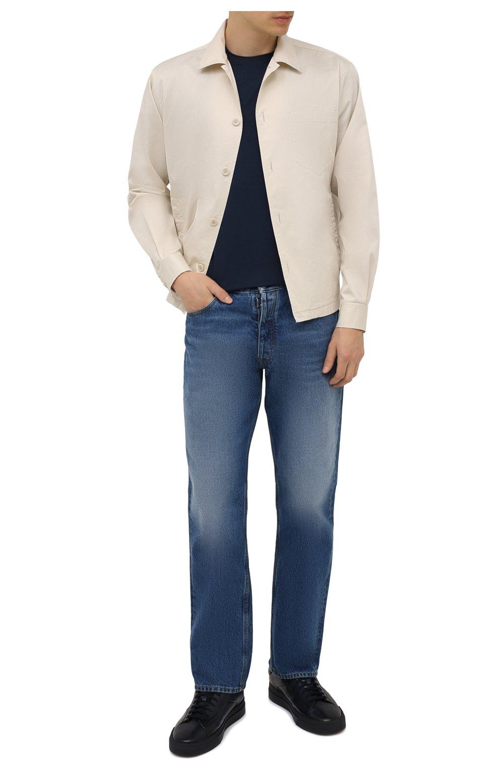 Мужские кожаные кеды SANTONI темно-синего цвета, арт. MBGT21554T0CRG0NU60 | Фото 2 (Материал внутренний: Натуральная кожа; Подошва: Массивная)