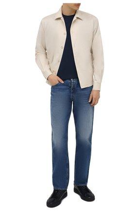 Мужские кожаные кеды SANTONI темно-синего цвета, арт. MBGT21554T0CRG0NU60 | Фото 2