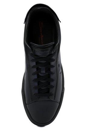 Мужские кожаные кеды SANTONI темно-синего цвета, арт. MBGT21554T0CRG0NU60 | Фото 5 (Материал внутренний: Натуральная кожа; Подошва: Массивная)