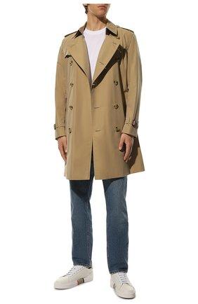 Мужские кожаные кеды BURBERRY белого цвета, арт. 8043200 | Фото 2