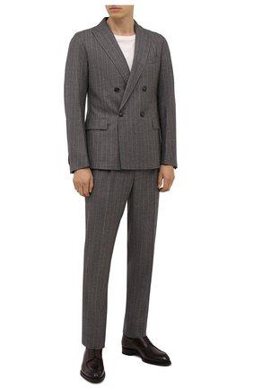 Мужские кожаные дерби BRIONI темно-коричневого цвета, арт. QE1D0L/P6757 | Фото 2 (Материал внутренний: Натуральная кожа; Стили: Классический)