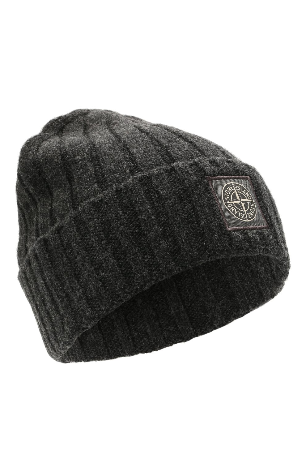 Мужская шерстяная шапка STONE ISLAND темно-серого цвета, арт. 7515N24B5 | Фото 1 (Материал: Шерсть; Кросс-КТ: Трикотаж)