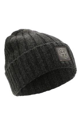 Мужская шерстяная шапка STONE ISLAND темно-серого цвета, арт. 7515N24B5 | Фото 1