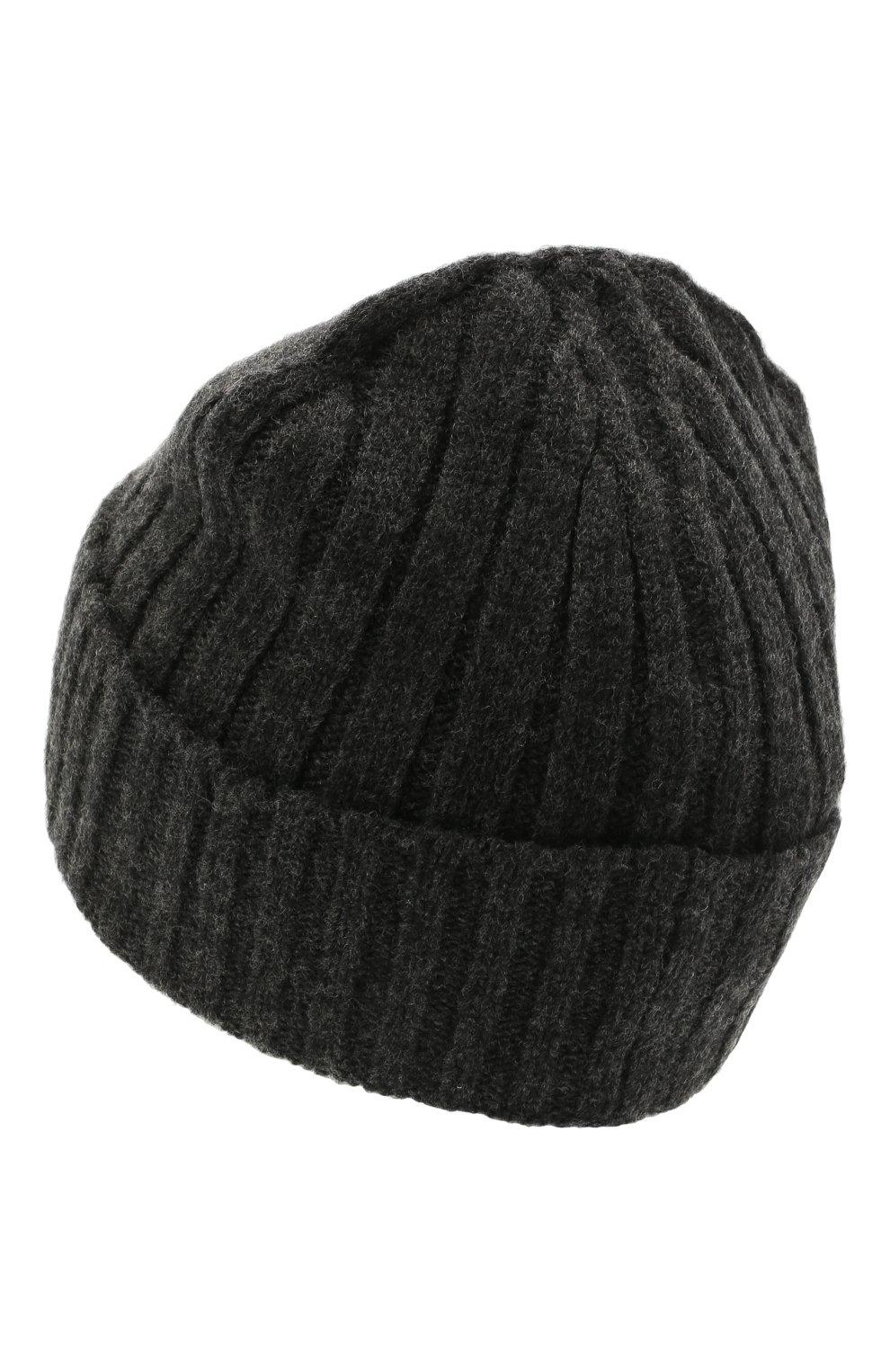 Мужская шерстяная шапка STONE ISLAND темно-серого цвета, арт. 7515N24B5 | Фото 2 (Материал: Шерсть; Кросс-КТ: Трикотаж)