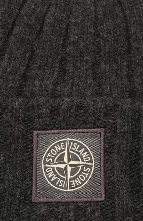 Мужская шерстяная шапка STONE ISLAND темно-серого цвета, арт. 7515N24B5 | Фото 3 (Материал: Шерсть; Кросс-КТ: Трикотаж)