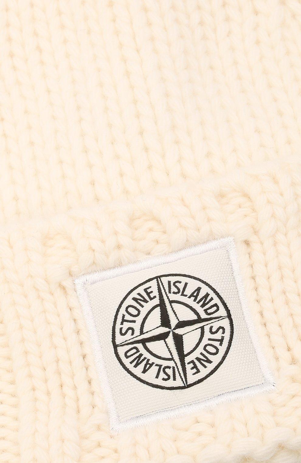 Мужская шерстяная шапка STONE ISLAND кремвого цвета, арт. 7515N17D6 | Фото 3 (Материал: Шерсть; Кросс-КТ: Трикотаж)