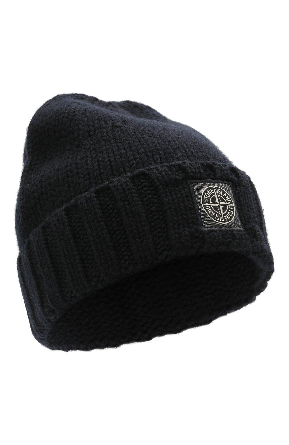 Мужская шерстяная шапка STONE ISLAND темно-синего цвета, арт. 7515N17D6 | Фото 1 (Материал: Шерсть; Кросс-КТ: Трикотаж)