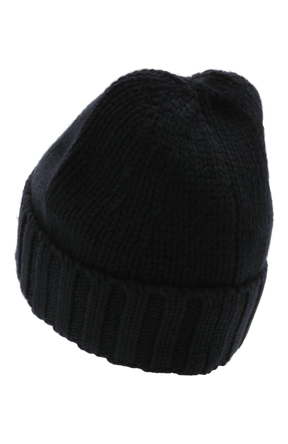 Мужская шерстяная шапка STONE ISLAND темно-синего цвета, арт. 7515N17D6 | Фото 2 (Материал: Шерсть; Кросс-КТ: Трикотаж)