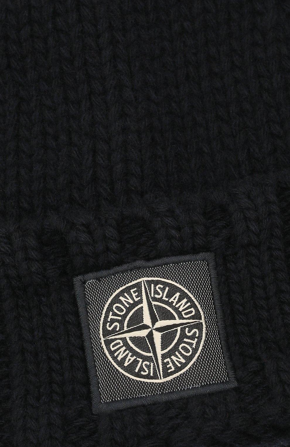 Мужская шерстяная шапка STONE ISLAND темно-синего цвета, арт. 7515N17D6 | Фото 3 (Материал: Шерсть; Кросс-КТ: Трикотаж)