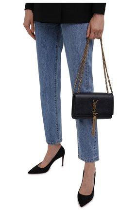 Женская сумка kate SAINT LAURENT темно-синего цвета, арт. 474366/B0W0W | Фото 2 (Размер: mini; Материал: Натуральная кожа; Ремень/цепочка: На ремешке, С цепочкой; Сумки-технические: Сумки через плечо; Женское Кросс-КТ: Вечерняя сумка)