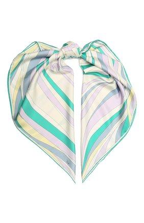 Женский шелковый платок EMILIO PUCCI зеленого цвета, арт. 1RGB32/1RV32 | Фото 1