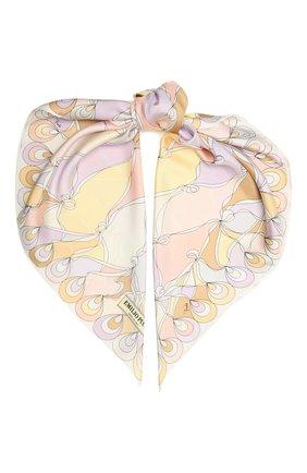 Женский шелковый платок EMILIO PUCCI светло-розового цвета, арт. 1RGB42/1RL42 | Фото 1