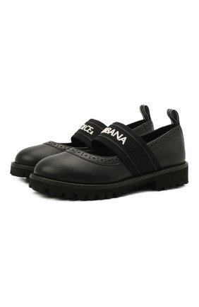 Детские кожаные туфли DOLCE & GABBANA черного цвета, арт. D10960/AW087/29-36 | Фото 1