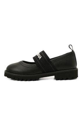 Детские кожаные туфли DOLCE & GABBANA черного цвета, арт. D10960/AW087/29-36 | Фото 2
