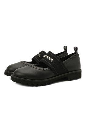 Детские кожаные туфли DOLCE & GABBANA черного цвета, арт. D10960/AW087/37-39 | Фото 1