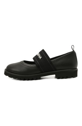 Детские кожаные туфли DOLCE & GABBANA черного цвета, арт. D10960/AW087/37-39 | Фото 2