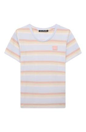 Детская хлопковая футболка ACNE STUDIOS голубого цвета, арт. DL0020 | Фото 1
