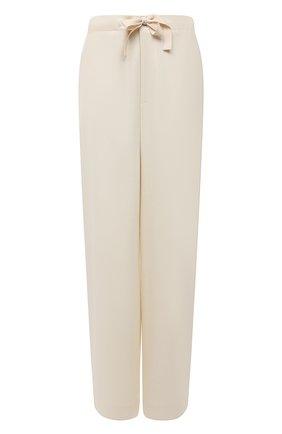 Женские шерстяные брюки JIL SANDER кремвого цвета, арт. JPPT311305-WT212500 | Фото 1 (Длина (брюки, джинсы): Стандартные; Материал внешний: Шерсть; Силуэт Ж (брюки и джинсы): Широкие; Женское Кросс-КТ: Брюки-одежда; Стили: Минимализм)