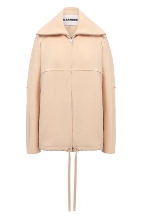 Женская шерстяная куртка JIL SANDER бежевого цвета, арт. JSPT150125-WT201100 | Фото 1 (Рукава: Длинные; Материал подклада: Вискоза; Материал внешний: Шерсть; Длина (верхняя одежда): Короткие; Кросс-КТ: Куртка; Стили: Минимализм)