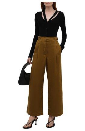 Женские хлопковые брюки PROENZA SCHOULER WHITE LABEL хаки цвета, арт. WL2136097-AC115 | Фото 2