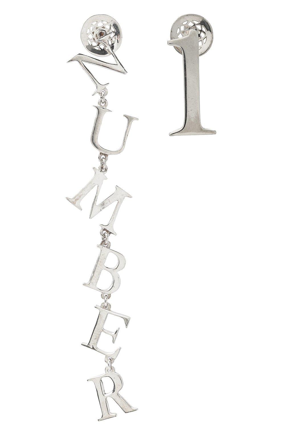 Женские серьги number 1 world of words DZHANELLI серебряного цвета, арт. 0201   Фото 4 (Материал: Золото)