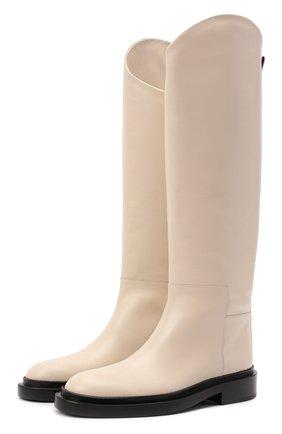 Женские кожаные сапоги JIL SANDER кремвого цвета, арт. JS35043A-14033 | Фото 1 (Подошва: Платформа; Высота голенища: Высокие; Материал внутренний: Натуральная кожа; Каблук высота: Низкий; Каблук тип: Устойчивый)