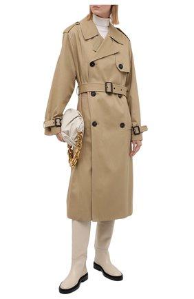 Женские кожаные сапоги JIL SANDER кремвого цвета, арт. JS35043A-14033 | Фото 2 (Подошва: Платформа; Высота голенища: Высокие; Материал внутренний: Натуральная кожа; Каблук высота: Низкий; Каблук тип: Устойчивый)