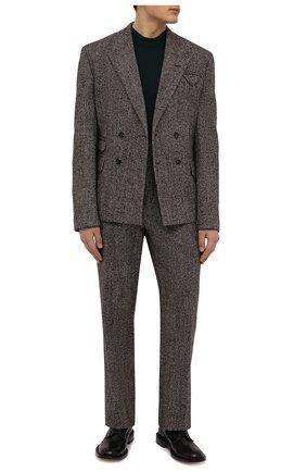 Мужские брюки из шерсти и шелка BOTTEGA VENETA коричневого цвета, арт. 659698/V12N0   Фото 2