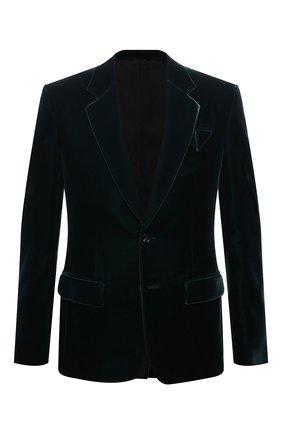 Мужской пиджак BOTTEGA VENETA темно-зеленого цвета, арт. 659589/V0XD0 | Фото 1 (Длина (для топов): Стандартные; Рукава: Длинные; Материал внешний: Купро, Вискоза; Материал подклада: Вискоза; Пиджаки М: Приталенный; 1-2-бортные: Однобортные; Стили: Гламурный; Случай: Повседневный)