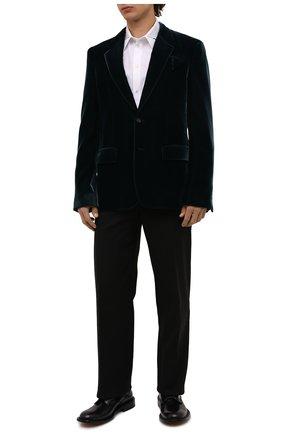 Мужской пиджак BOTTEGA VENETA темно-зеленого цвета, арт. 659589/V0XD0 | Фото 2 (Длина (для топов): Стандартные; Рукава: Длинные; Материал внешний: Купро, Вискоза; Материал подклада: Вискоза; Пиджаки М: Приталенный; 1-2-бортные: Однобортные; Стили: Гламурный; Случай: Повседневный)