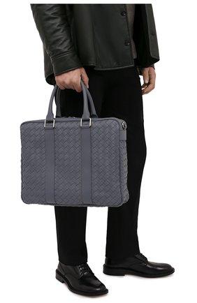 Мужская кожаная сумка для ноутбука BOTTEGA VENETA серого цвета, арт. 650372/V0E51 | Фото 2