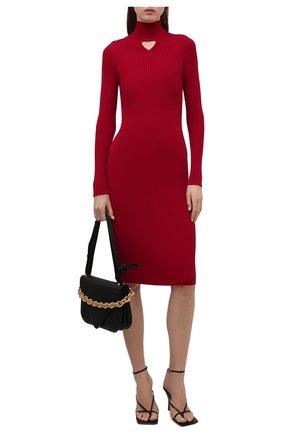 Женское шерстяное платье BOTTEGA VENETA бордового цвета, арт. 664857/V0Z80   Фото 2 (Длина Ж (юбки, платья, шорты): До колена; Рукава: Длинные; Женское Кросс-КТ: Платье-одежда; Стили: Гламурный; Случай: Повседневный; Кросс-КТ: Трикотаж; Материал внешний: Шерсть)