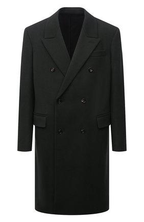 Мужской шерстяное пальто BOTTEGA VENETA темно-зеленого цвета, арт. 664463/VKUU0 | Фото 1 (Материал подклада: Вискоза; Материал внешний: Шерсть; Мужское Кросс-КТ: пальто-верхняя одежда; Длина (верхняя одежда): До колена; Рукава: Длинные; Стили: Минимализм)