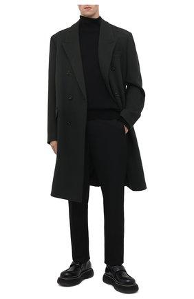 Мужской шерстяное пальто BOTTEGA VENETA темно-зеленого цвета, арт. 664463/VKUU0 | Фото 2 (Материал подклада: Вискоза; Материал внешний: Шерсть; Мужское Кросс-КТ: пальто-верхняя одежда; Длина (верхняя одежда): До колена; Рукава: Длинные; Стили: Минимализм)